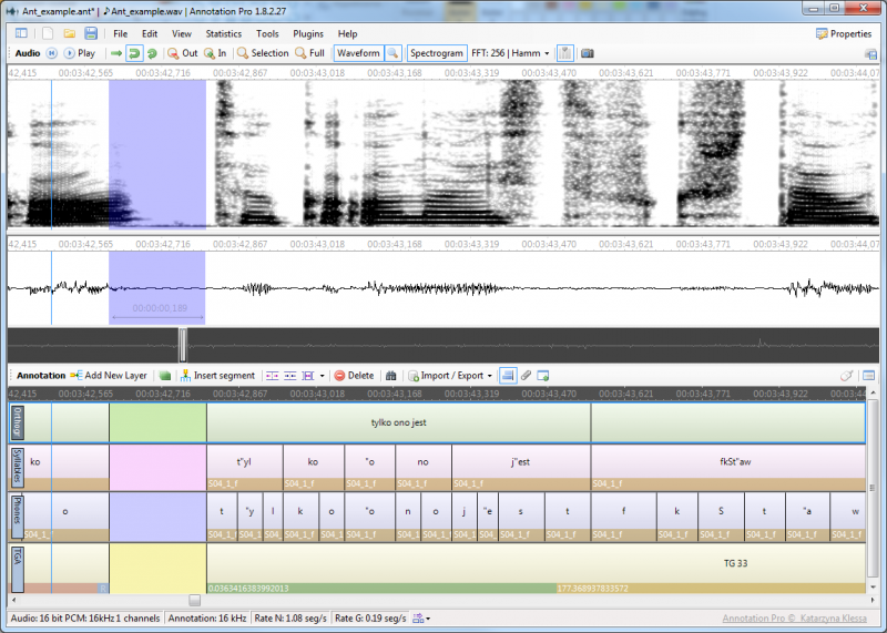 An example multilayer annotation of an audio file