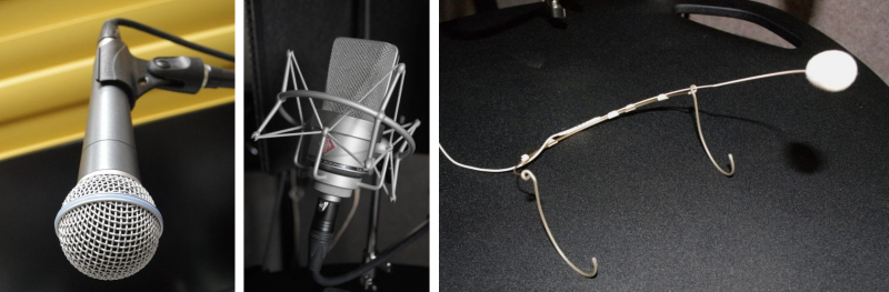 Dynamic (left), condenser (middle), condenser head-mounted (right) microphones