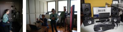 Studio recording environment: recordings in an anechoic chamber, the Laboratory team at work, equipment (the Laboratory of the Psycholinguistics Department, Adam Mickiewicz University in Poznań, photos: Agnieszka Czoska (left, middle), Maciej Karpiński (right)).