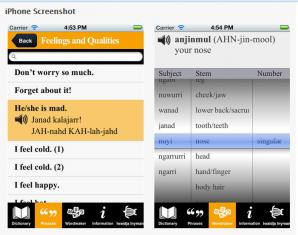 Screenshots showing the application Ma! Iwaidja (source: itunes.apple.com)