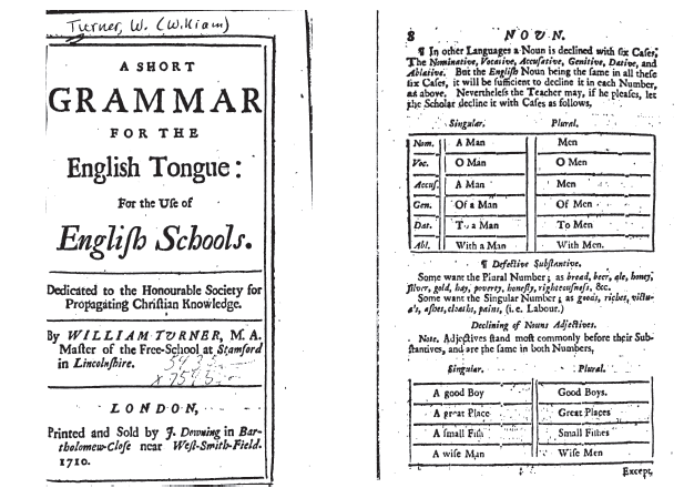 "A 18th century grammar of English - with a full declension of the word ""man"""