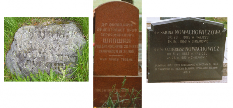 Karaim gravestones with inscriptions in Hebrew (Trakai, Lithuania), Russian 'grażdanskij szrift' (the grave of prof. Seraji Szapszała at the Karaim cemetary in Vilnus, Lithuania) and Polish ortography (Karaim cemetary in Warszawie) (photo: T.Wicherkiewicz)