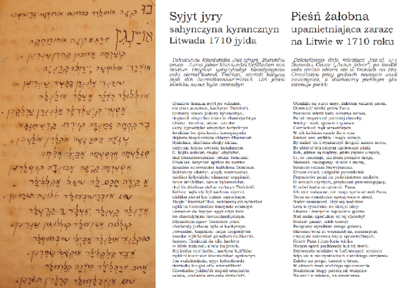 The text of a Karaim mourning song  (Hebrew script, contemporary orthography, and Polish translation), prepared and translated by: Anna Sulimowicz; after: Awazymyz, March 2012: 3.
