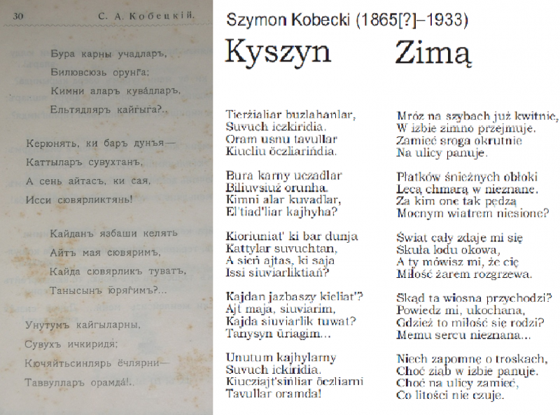 "The text of the poem Zima (""Kyszyn"") by Szymon Kobecki (1911) in cyrilic script, its transliteration (based on Polish ortography), and Polish translation – prepared and translated by: Anna Sulimowicz; after: Awazymyz, March 2012: 3."