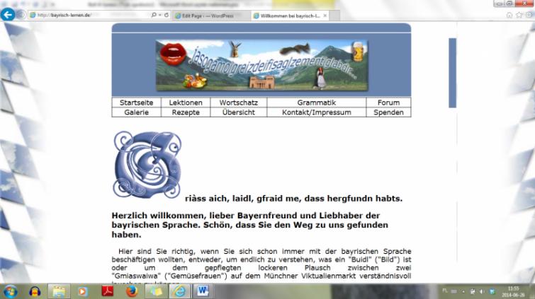"""Website """"bairischlernen.de"""" (Bairisch lernen = learning Bavarian)"""