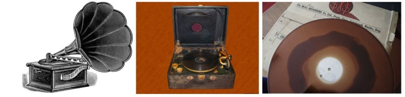 Gramophones and an analogue record. Images: left - a picture first published in Spiegel May Stern Co. Universal Home Furnishers (1908), source: http://olddesignshop.com/, middle - a photo by Erik Araujo, www.freeimages.com/photo/925626, a different photo on-line the right picture replaced by right - a 12-inch record, photo: Maciej Karpiński.